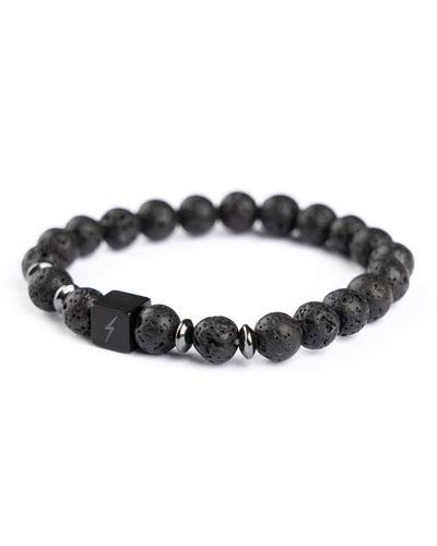 YNRA natural black lava stone bracelet You'll never rave alone