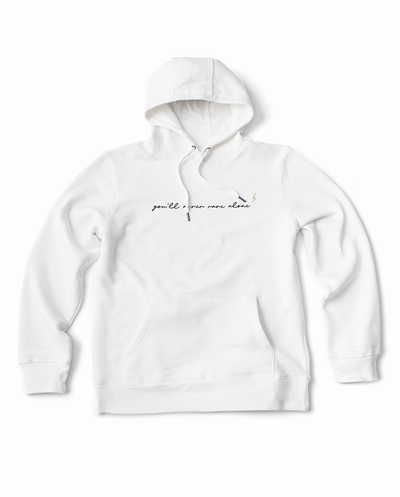 YNRA hoodie unisex white you'll never rave alone