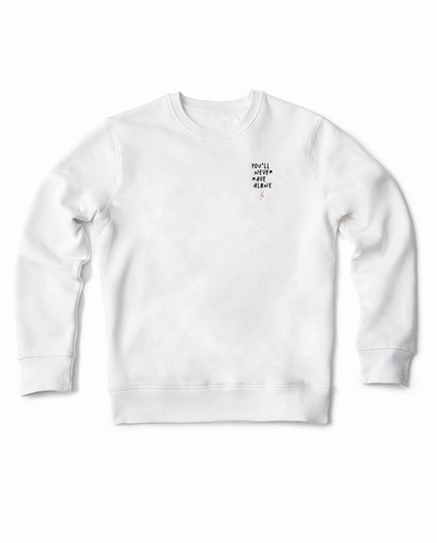 YNRA sweater unisex white you'll never rave alone