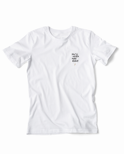 YNRA t-shirt unisex white you'll never rave alone