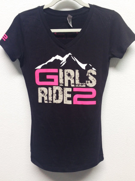 Girls Ride 2 V-Neck Ladies Shirt