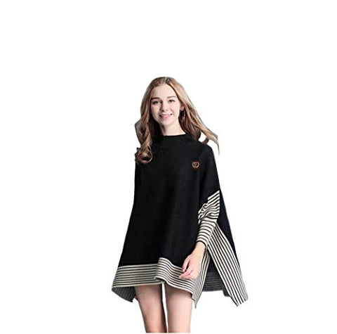 High Neck Woman Poncho Sweater (Black)
