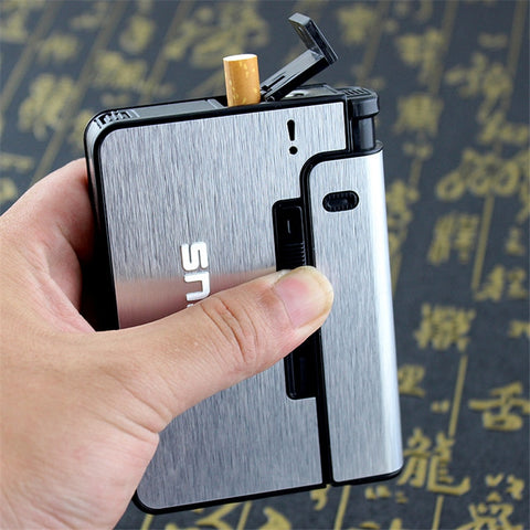 Aluminum Alloy Cigarette Case with Lighter