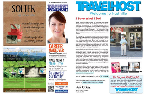 Magazine pages featuring Soltek ad