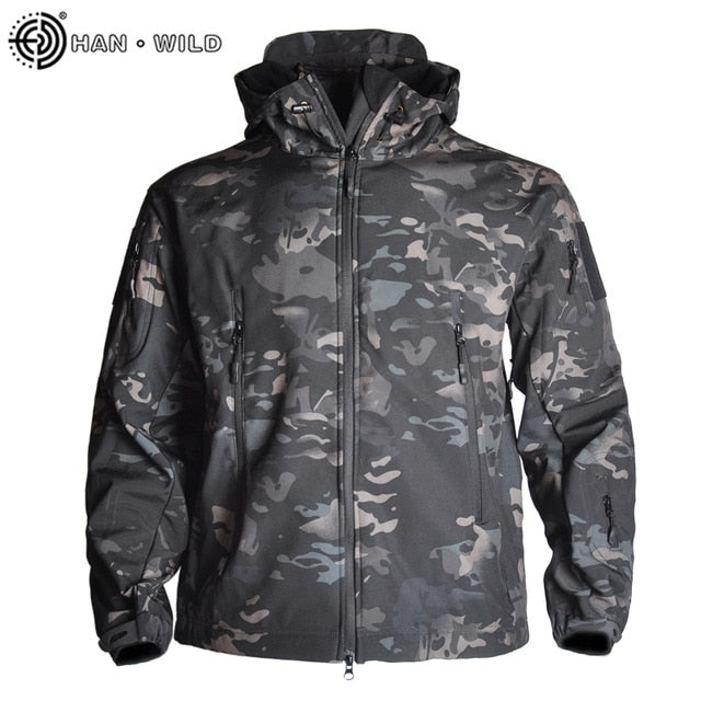 Mens Shark Skin Soft Shell Windbreaker Fleece Field Jacket