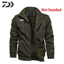 Load image into Gallery viewer, Fleece Lined Jacket Men Winter Fishing Clothes Hooded Multi-pocket Warm -