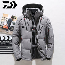 Load image into Gallery viewer, Daiwa White Duck Down Fishing Jacket Warm Hooded Thick Puffer Coat Male