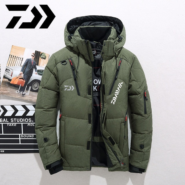 Daiwa White Duck Down Fishing Jacket Warm Hooded Thick Puffer Coat Male