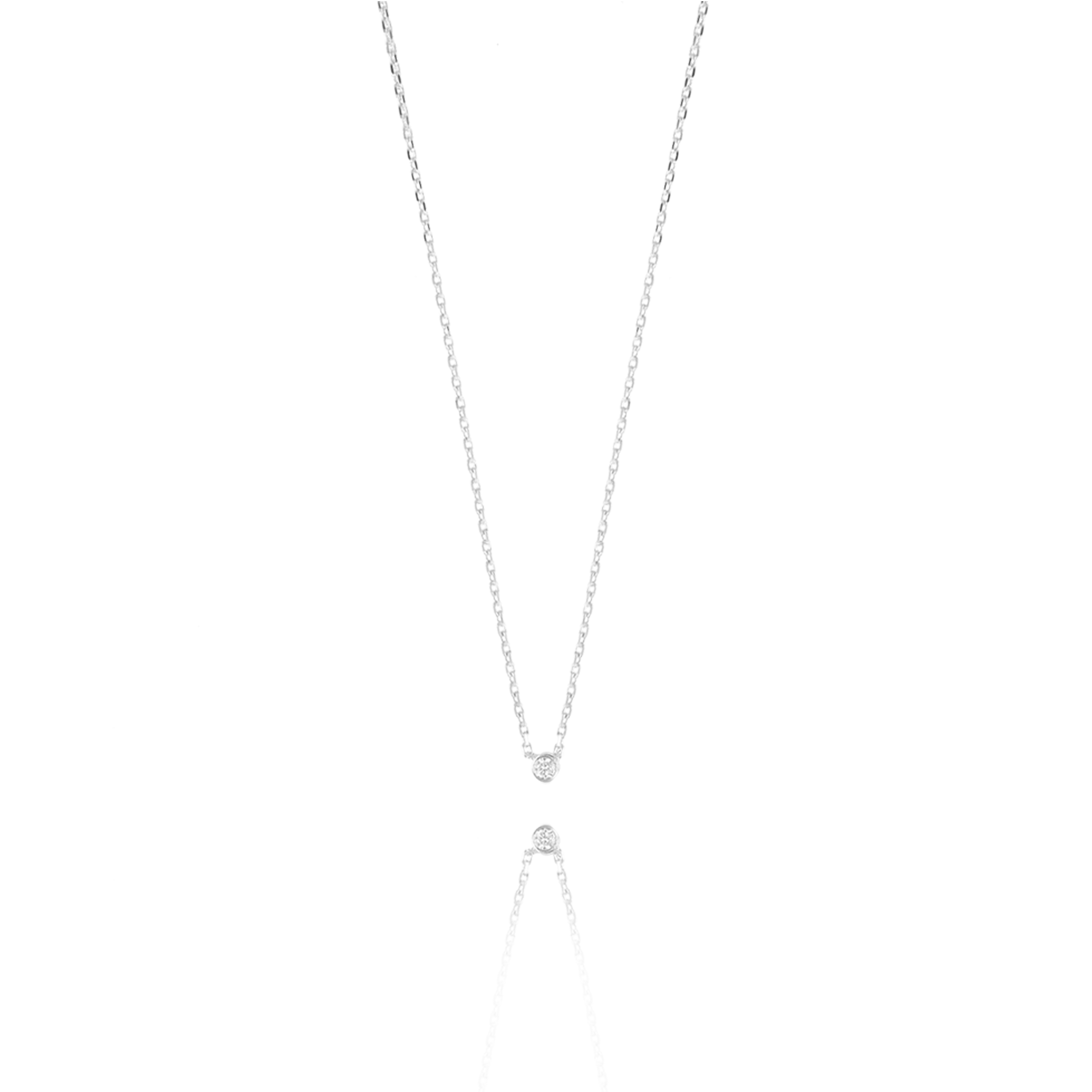 Zilveren One Diamond Ketting