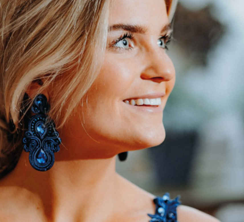 Paulie Pocket - Dark Blue Strass Earrings statement