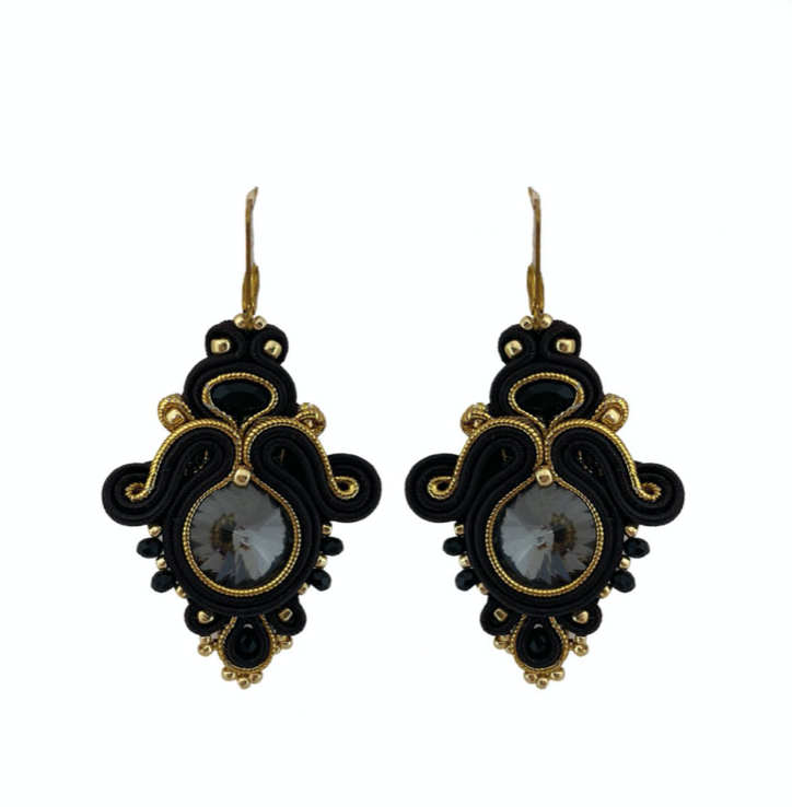 Paulie Pocket -Sweet Swarovski Earrings Black statement