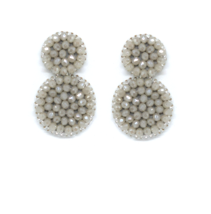 Paulie Pocket - Small Grey Beads Earrings statement