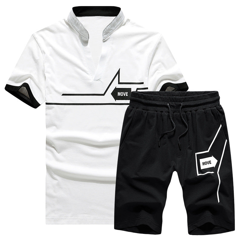 2021 new men's short-sleeve stand-up collar sports suit