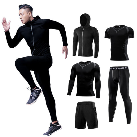 Men's Compression fitness Tracksuit 5 Piece Suit