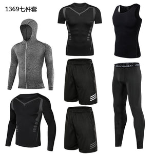 Men's quick-drying Fitness Tracksuit 7 Piece Suit