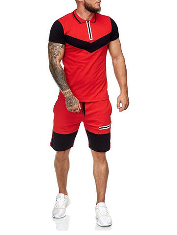 Men's Color matching sports suit