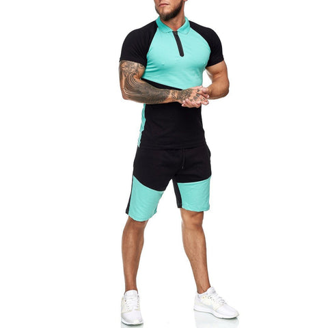 Men's sports suit running short sleeve