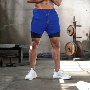 Men 3 In 1 Double-deck Quick Dry Sport Shorts