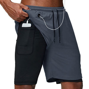 Men's 2 in 1 Running Shorts Gym Workout Quick Dry Mens Shorts with Phone Pocket