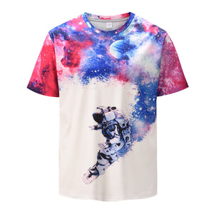 Men's short-sleeved t-shirt starry astronaut digital printing