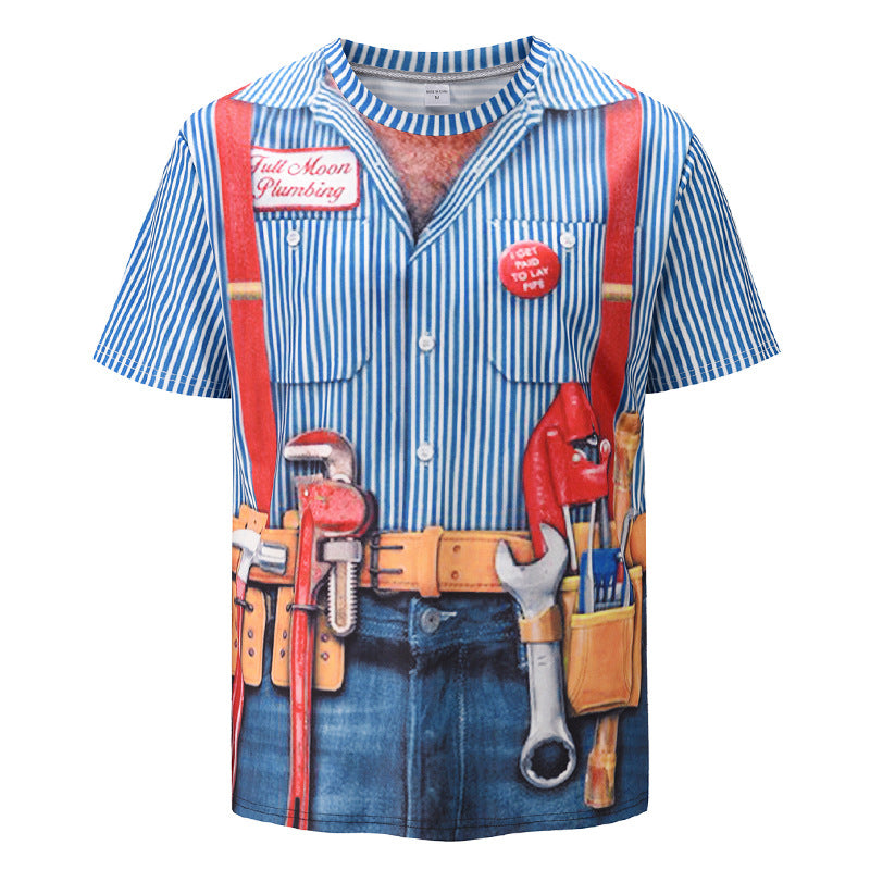 2021 new 3d overalls fake two-piece printed short sleeves