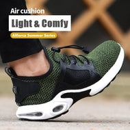 Alforca Air Cushion Breathable Lightweight Mesh Steel Toe Safety Shoes with Lock Lace