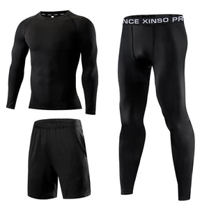 Men's quick-drying fitness Tracksuit Long Sleeve 3 Piece Suit