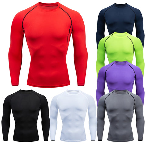 Men Solid color Compression Long Sleeve