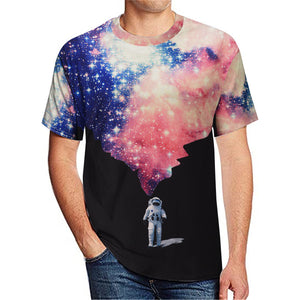 Astronaut print casual short-sleeved t-shirt