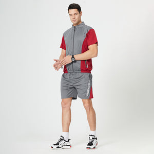 2021 summer new men's contrast color fitness suit