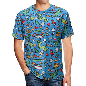 Cartoon dinosaur print men's casual t-shirt