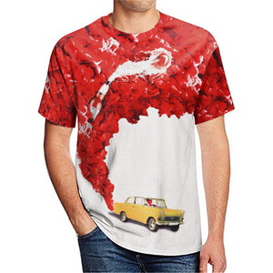 Car Beer digital printing men's casual T-shirt