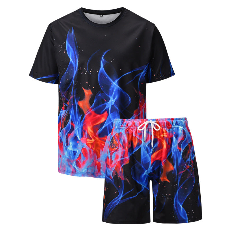 Men's 3d flame printing casual suit