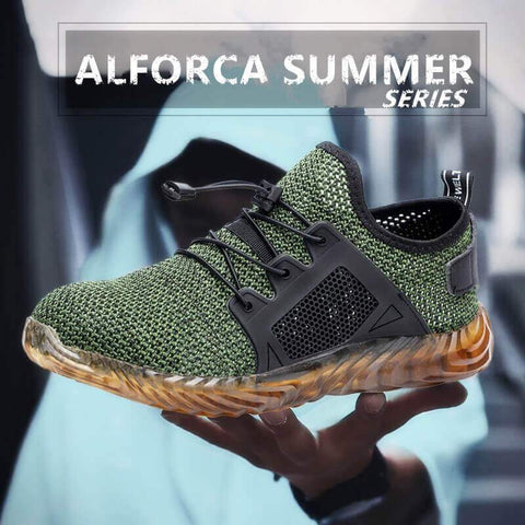Alforca Lock Lace Breathable Jelly Safety Steel Toe Shoes Cool Summer Series
