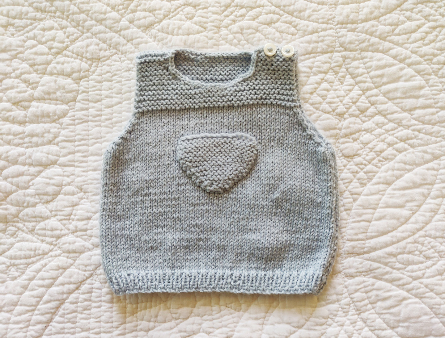Baby Knit Top baby Blue with Pocket 6 Months