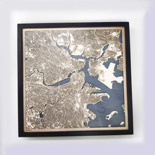 Load image into Gallery viewer, Boston Wooden Map by CityWood - Custom Wood Map Art - Unique Laser Cut Maps