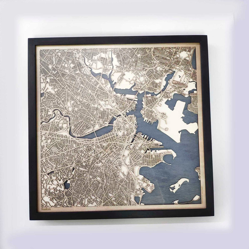 Boston Wooden Map by CityWood - Custom Wood Map Art - Unique Laser Cut Maps