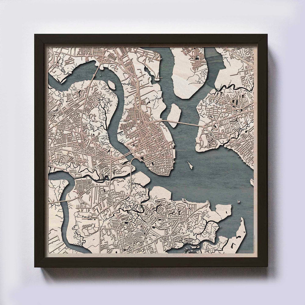 Charleston Wooden Map