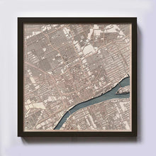 Load image into Gallery viewer, Detroit Wood Map - Laser Cut Custom Map Streets City 3d Framed Wooden Maps Travel Wall Art - Birthday Christmas Gift Wedding Gifts