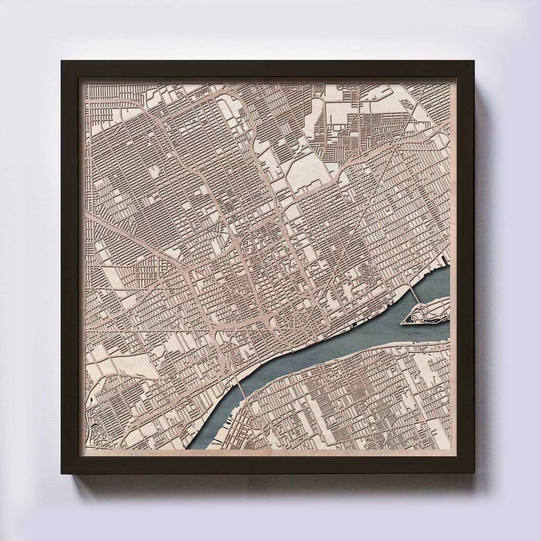 Detroit Wood Map - Laser Cut Custom Map Streets City 3d Framed Wooden Maps Travel Wall Art - Birthday Christmas Gift Wedding Gifts