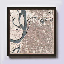 Load image into Gallery viewer, Memphis Wood Map - Laser Cut Custom Map Streets City 3d Framed Wooden Maps Travel Wall Art - Birthday Christmas Gift Wedding Gifts