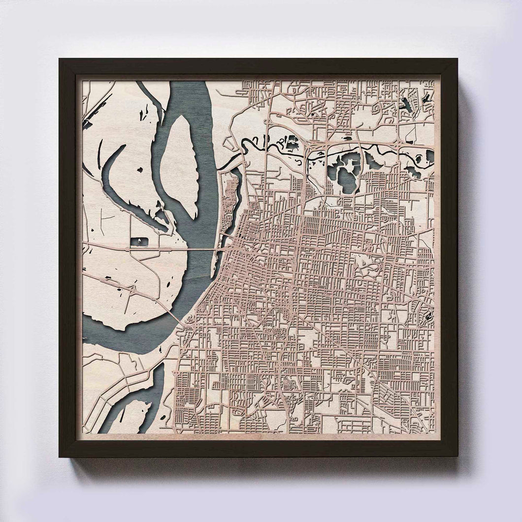 Memphis Wood Map - Laser Cut Custom Map Streets City 3d Framed Wooden Maps Travel Wall Art - Birthday Christmas Gift Wedding Gifts