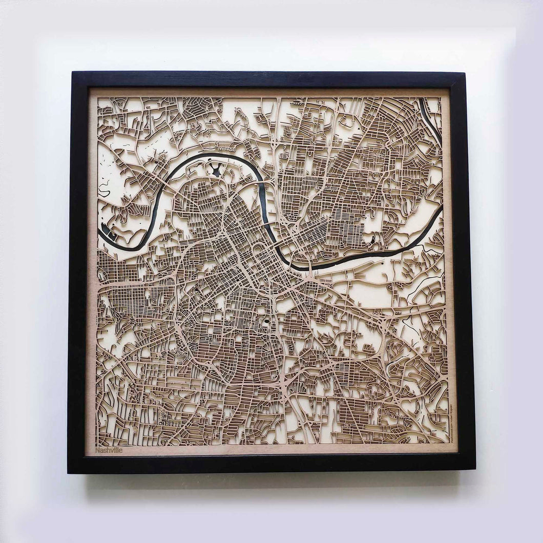Nashville Wooden Map