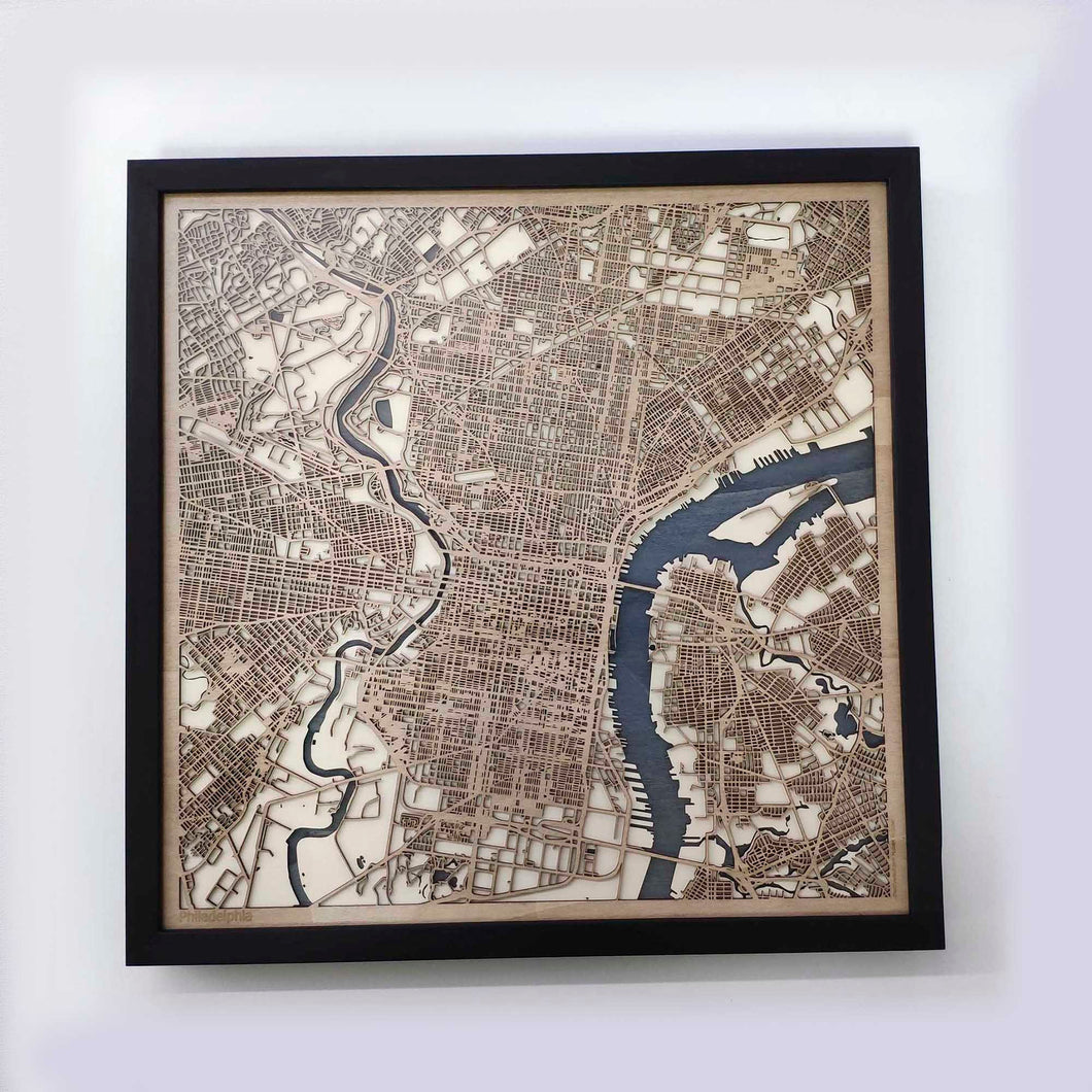 Philadelphia Wooden Map by CityWood - Custom Wood Map Art - Unique Laser Cut Maps