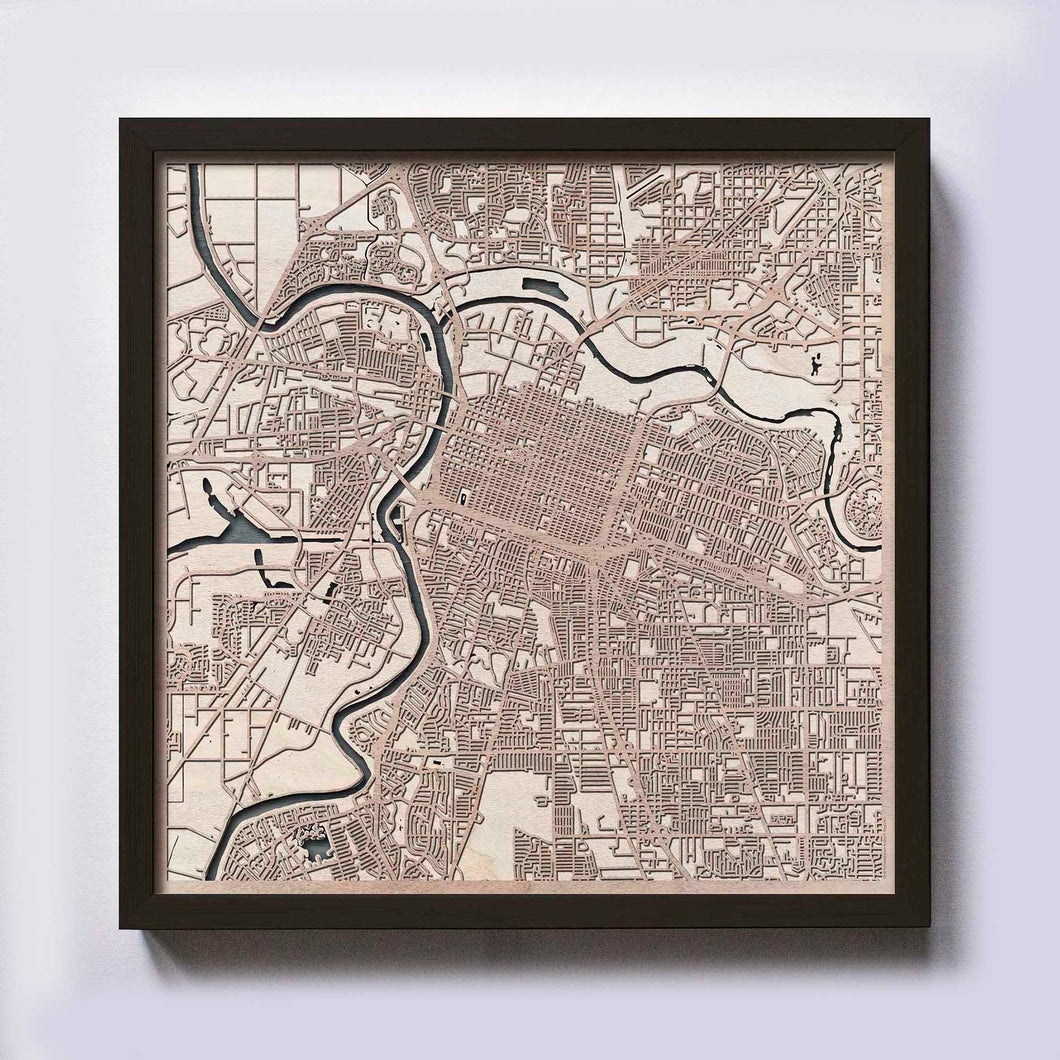 Sacramento Wood Map - Laser Cut Custom Map Streets City 3d Framed Wooden Maps Travel Wall Art - Birthday Christmas Gift Wedding Gifts