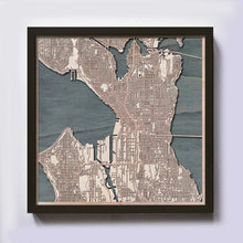 Load image into Gallery viewer, Seattle Wooden Map by CityWood - Custom Wood Map Art - Unique Laser Cut Maps