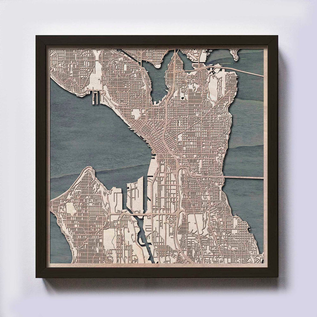 Seattle Wooden Map by CityWood - Custom Wood Map Art - Unique Laser Cut Maps