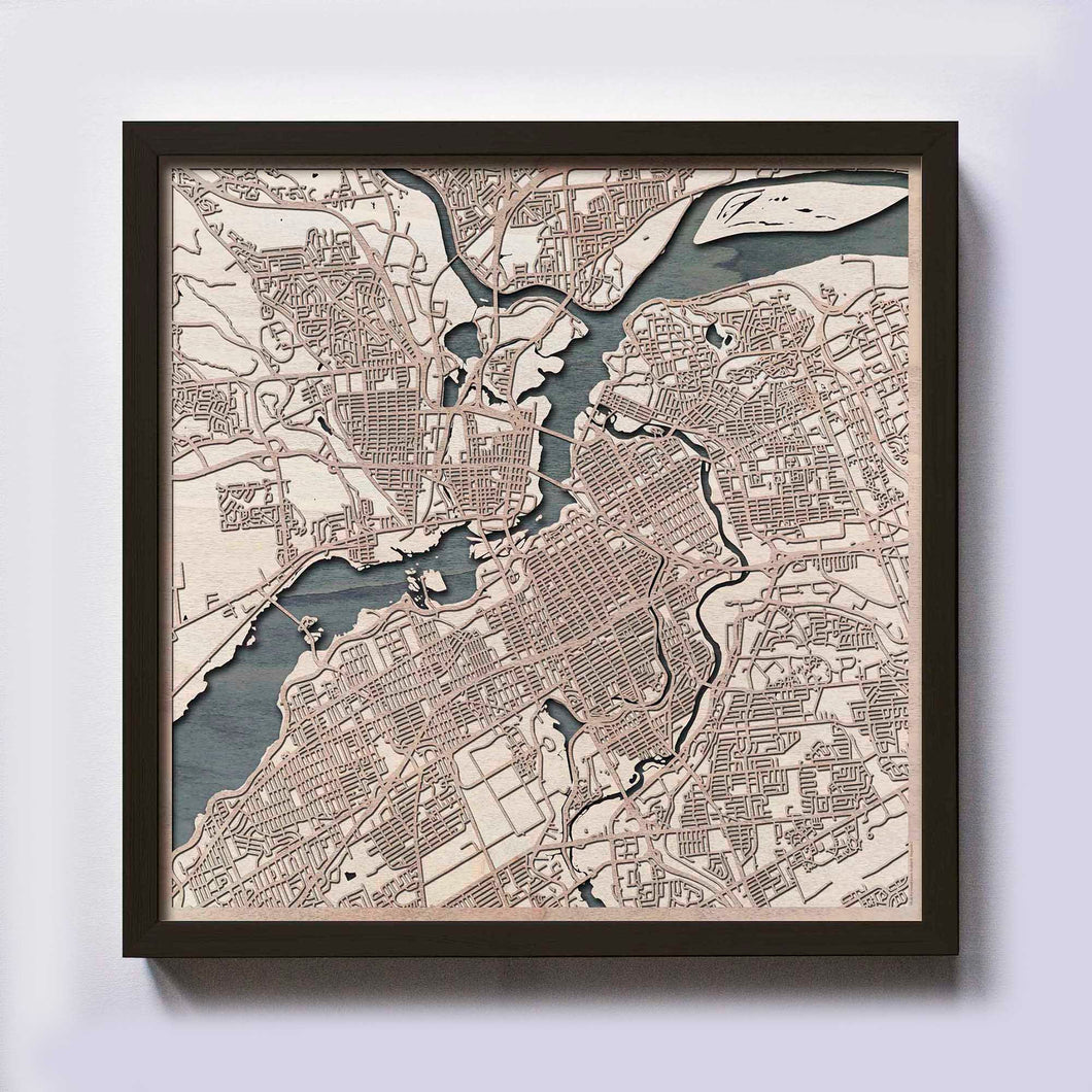 Ottawa Wood Map - Laser Cut Custom Map Streets City 3d Framed Wooden Maps Travel Wall Art - Birthday Christmas Gift Wedding Gifts