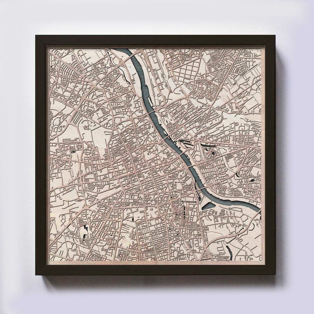 Warsaw Wood Map - Laser Cut Custom Map Streets City 3d Framed Wooden Maps Travel Wall Art - Birthday Christmas Gift Wedding Gifts