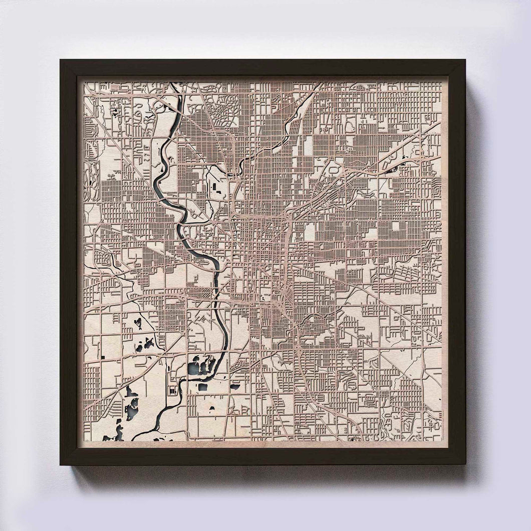 Indianapolis Wooden Map